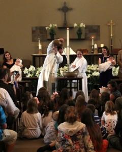 baptismal water pour
